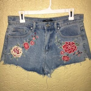 Floral Embroidered cheeky denim shorts